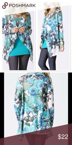"""Lightweight Summer Cardigan Blue and charcoal lightweight cardigan, open styling and breezy fabric add just the right amount of coziness to this comfy cardi. Chest 42""""  Front length 31"""" back 28"""", 78% Polyester/ 22% Rayon. Made in the USA Boutique Sweaters Cardigans"""