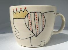 wanelo - elephant & crown mug
