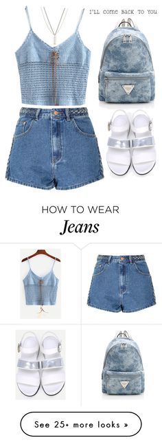 """""""I'll come back to you!"""" by amilla-top on Polyvore featuring Glamorous, ASOS, outfit, denim, backpack, cami and shein"""