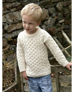 A traditional classic kids crew neck Irish Aran sweater made especially for your little ones. Beautifully knit using Aran honeycomb and herringbone stitches. Baby Sweaters, Cable Knit Sweaters, Irish Sweaters, Irish Clothing, Kids Clothing, Clothing Ideas, Pull Bebe, Herringbone Stitch, Sweater Making
