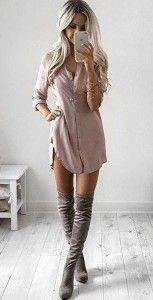 платье рубашка с джинсами, платье рубашка женская с ботфортами