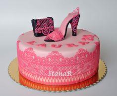 Lace, shoe, handbag cake