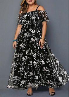 Plus Size Fashion : Plus Size Prined Strappy Cold Shoulder Black Dress Plus Size Maxi Dresses, Plus Size Outfits, Dresses For Sale, Dresses Online, Halter Dresses, Trendy Dresses, Spandex Dress, Black Women Fashion, Plus Size Fashion