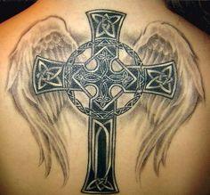 celtic cross angel wings tattoo