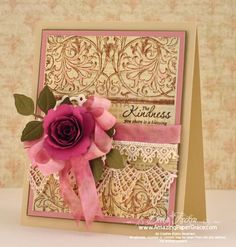 Beautiful Pink & Gold Card...with crocheted lace & rose...Becca Feeken.
