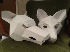 You are buying the templates with simple instructions to make your own WOLF and FOX paper masks from cardboard. They are supplied as PDF and available as an instant download. Just print the templates on US Letter paper or A4, glue them to the cardboard, cut them out , fold the dashed lines, match the numbers and tape the parts together with some tape.  These templates are plain but you can use your imagination to decorate the finished mask however you like.  These designs are Green Minded…