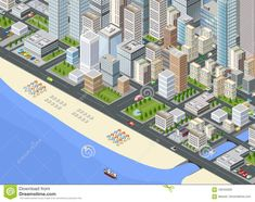 Illustration about Illustration isometric large megalopolis city district with the streets, the promenade and the beach with umbrellas and sunbeds. Illustration of garden, design, collection - 100452632 City Illustration, Birds Eye View, Vector Art, Royalty Free Stock Photos, World, Street, Beach, Pictures, Umbrellas