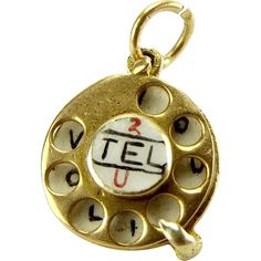 1964 - Vintage 9ct Gold & Enamel TELEPHONE DIAL Charm Moves 2 Tel U I Love You hallmarked for London 1964 IJ Ld.