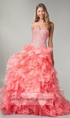 Coral Corset Sparkly Top Lace Up Ruffled Ball Gowns