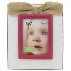 "5"" x 7"" White & Pink Picture Frame with Burlap Bow"