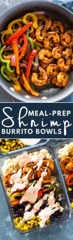 Meal-Prep Shrimp Burrito Bowls Quick meal-prep burrito bowls loaded with spicy shrimp, fajita veggies, black beans, brown rice, and a spicy 2 ingredient cream sauce. Meal-prep just got a whole lot tastier with these shrimp burrito bowls. Healthy Recipes, Fish Recipes, Lunch Recipes, Seafood Recipes, Mexican Food Recipes, Dinner Recipes, Cooking Recipes, Recipies, Lunch Snacks