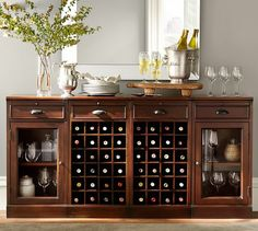4-Piece Modular Bar Buffet(2 wine grid bases & 2 glass door cabinet base), Mahogany stain
