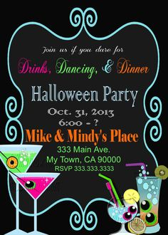 Halloween Party Invitation Office Party by M2MPartyDesigns