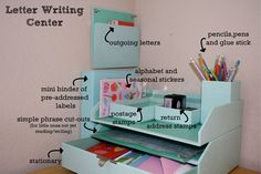 Love this, child's letter writing center...