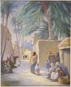 Algérie - Peintre Français, Albert Peters Destéract (1874 - 1951), Technique : Huile sur toile, Titre: Le village