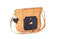 Shoulder cork bag, with zip. Adjustable strap - VIANA DO CASTELO Blue