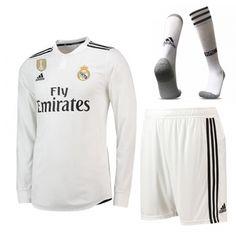 ec50c8b98 18 19  realmadrid  home  white Long Sleeve Jersey Whole Kit(Shirt