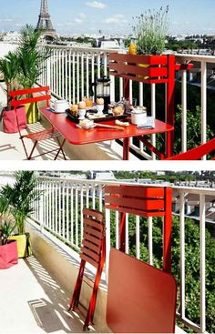déco de petit balcon avec du mobilier rouge