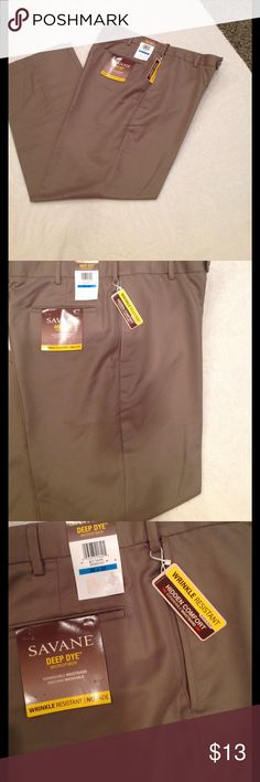 Men's Dress Pants Size 36X32 , color is taupe, deep dye microfiber, wrinkle resistant, no fade, hidden comfort with expandable waistband. Savane Pants Dress