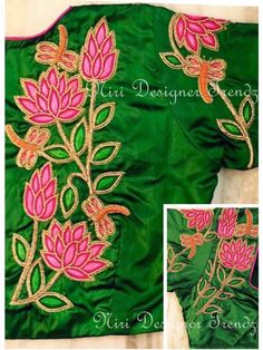 Aari Work Blouse, Lotus Flower Design, Peacock Design, Hand Embroidery Designs, Saree Blouse Designs, Design Trends, Stitching, Projects To Try, Blouses