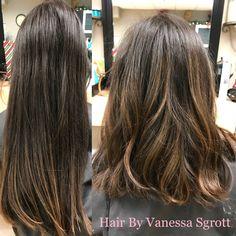Balayage and razor lob cut by Vanessa sgrott