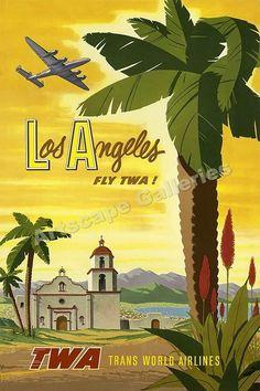 Los Angeles TWA Vintage Style Travel Poster - 16x24 #Vintage