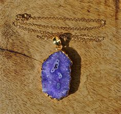 Purple stalactite necklace, purple solar quartz pendant, gold chain necklace, long necklace, boho chic jewelry, holiday jewelry, christmas by LolaBelleGems on Etsy