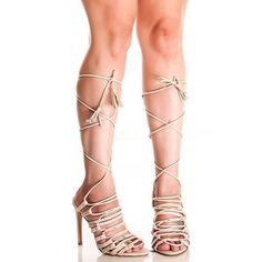 Women's Beige Strappy Stiletto Heel Gladiator Sandals for Party, Night club FSJ Design
