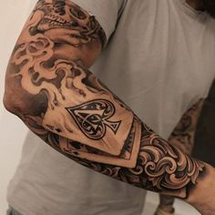 Badass Full Sleeve Arm Tattoo Designs - Best Full Arm Sleeve Tattoos For Men: Cool Sleeve Tattoo Designs and Ideas tattoo ideas for guys 101 Best Sleeve Tattoos For Men: Cool Designs + Ideas Guide) Half Sleeve Tattoos For Guys, Half Sleeve Tattoos Designs, Cool Tattoos For Guys, Best Sleeve Tattoos, Trendy Tattoos, Popular Tattoos, Tattoo Designs Men, Sleeve Tattoo Men, Mens Tattoos
