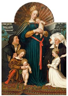 Hans Holbein (Ger. 1497-1543) Darmstadt Madonna or The Madonna of Basel's mayor…
