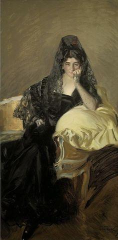 Señora de Urcola con mantilla de negro. Sorolla