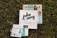 what cute invitations... i especially love the little add-in tie with their website