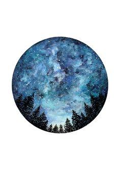 Acuarela arte impresión cielo estrellado arte por StudioFactotumUK