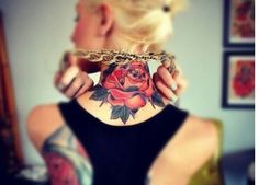 Amazing rose neck tattoo design for women