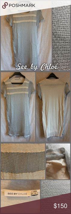 """See by Chloé Dress See by Chloé cotton dress with silver mesh style overlay on the front, cotton material on the back, size 4  33.5"""" from shoulder to hem •I'm open to offers on all items!• See by Chloe Dresses Mini"""