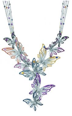 Butterfly Necklace : WHITE GOLD, RUBIES,SAPPHIRES (CT 14,53) AND BLACK AND WHITE DIAMONDS (CT 8,58) by Damiani