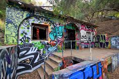 Murphy's Ranch, Palisades, CA with a wonderful history.   An abandoned Nazi ranch - google it for info.