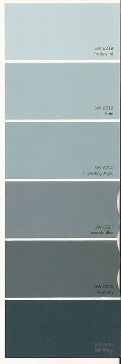 Sherwin Williams Rain and Interesting Aqua were HUGE in 2015 and still going strong in 2016. I LoVe this colour swatch!