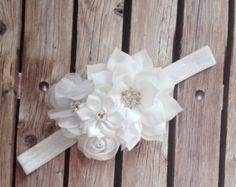 Flower headband christening headband baptism by Heavenandhalos Shabby Chic Headbands, Vintage Headbands, Floral Headbands, White Headband, Diy Headband, Flower Crafts, Diy Flowers, Christening Headband, Rustic Flower Girls