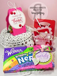 Sweet Treat packages by by Tara Godfrey. Reverse Confetti stamp set: Sugary Sweet Sentiments. Confetti Cuts: Heart to Heart, Square Tag, Love Note, Circles 'n Scallops, Envie Wrap, Sweet Treat Tent, Class Act and Label Me. Valentine's Day.