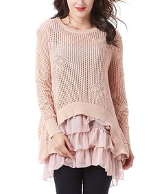 Love this Simply Couture Pink Crochet Tiered-Ruffle Tunic by Simply Couture on #zulily! #zulilyfinds
