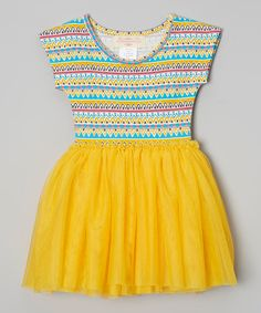 Look at this #zulilyfind! Yellow Zigzag Tutu Dress - Infant, Toddler & Girls by Taylor Joelle Designs #zulilyfinds