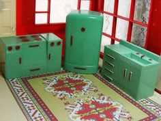 RARE Color Plasco Dollhouse Green Red Kitchen Fits Renwal Ideal Vtg | eBay