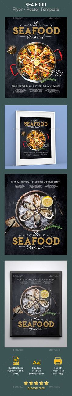 ad, advertising, bar, beach, blue, design, eat, fish, flyer, food, fresh, layout, magazine, modern, Paella, poster, print, promotion, psd, restaurant, sand, sea, seafood, seafood market, shells, tavern, template