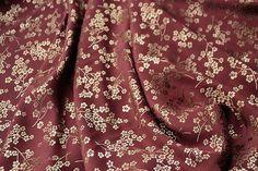 chinese ancient style golden plum blossom Crimson magneta colour silk fabric  half meter