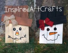 Wooden Reversible Scarecrow/Snowman by InspiredArtCrafts on Etsy