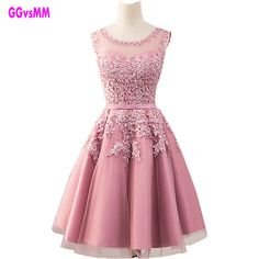 8052bc5d3ef Click to Buy    Fashion Pink Prom Gowns Beaded Lace Appliques Short Prom