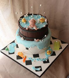 Rub a Dub Dub - Baby in the Tub Baby shower tub cake by Andrea's SweetCakes, via Flickr