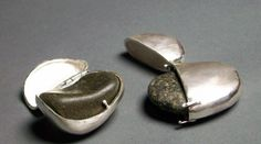 Sarah Flavin, Rock Reliquaries objects, 2010, sterling silver, saved rocks from childhood, 1 inches high (approx)