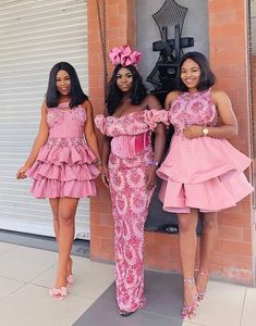 Nigerian Lace Styles Dress, Aso Ebi Lace Styles, Unique Ankara Styles, Lace Gown Styles, African Bridesmaid Dresses, Long African Dresses, African Clothes, Cord Lace Styles, Short Gowns